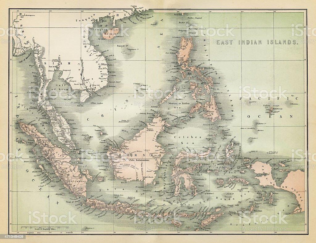 Carte De Linde De Lest.Carte De Lest De Linde Iles 1860 Vecteurs Libres De Droits