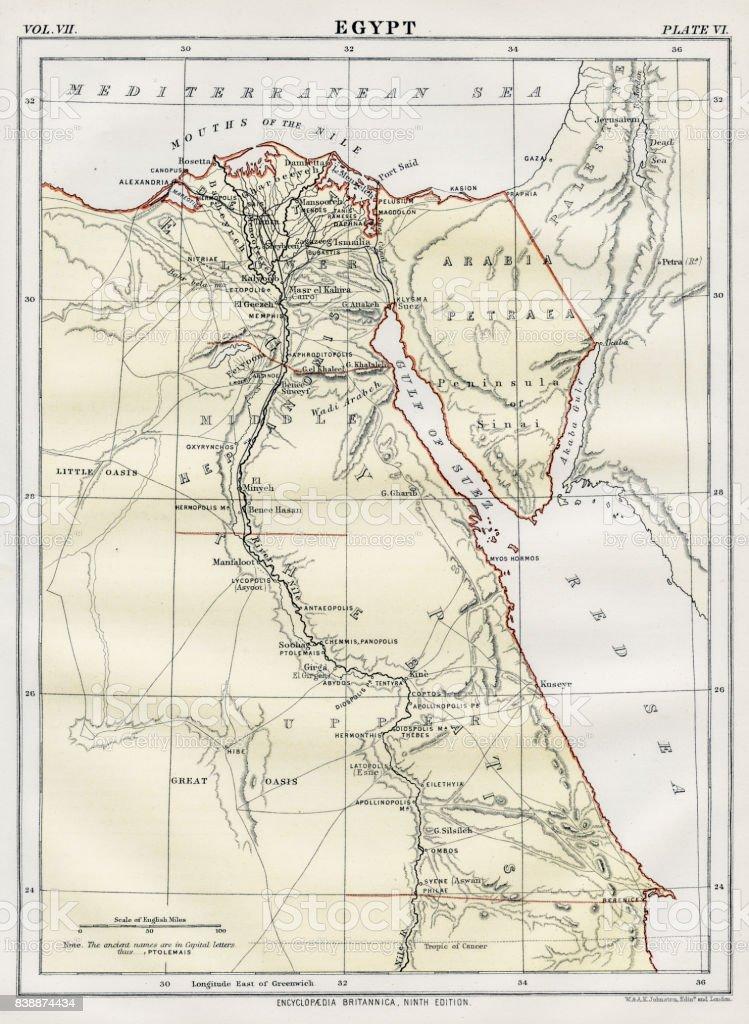 Map of Egypt 1883 vector art illustration