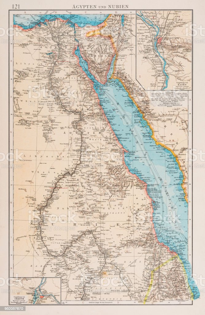 Map Of Egypt And Sudan 1896 Stock Vector Art & More Images of Africa ...