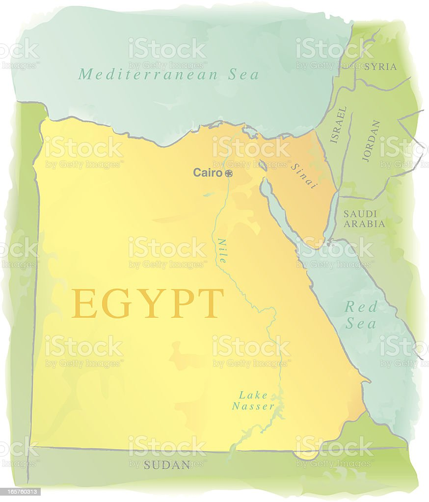 Map Of Egypt Watercolor Style Stock Vector Art & More Images of ...