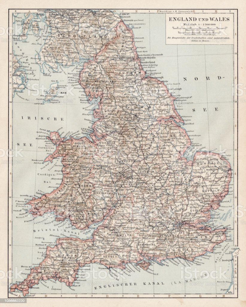 Map Of Uk 1900.Map Of England And Wales 1900 Stock Vector Art More Images Of
