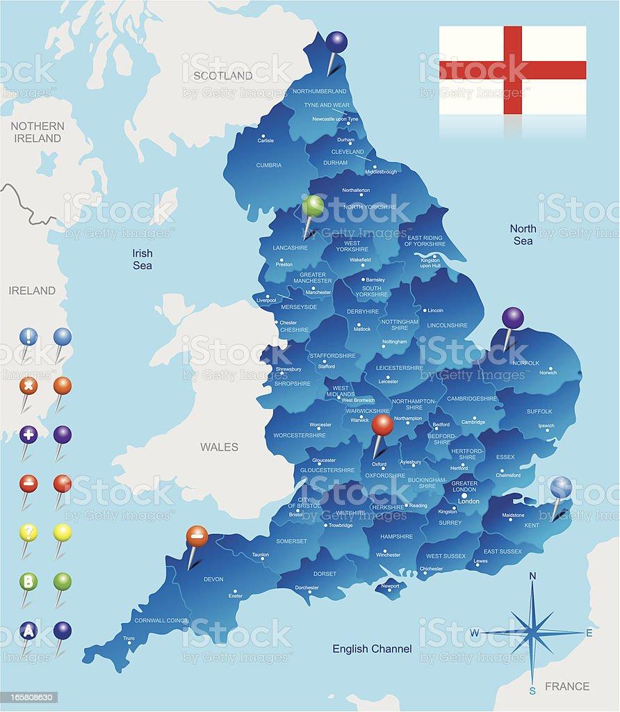 Map of England vector art illustration