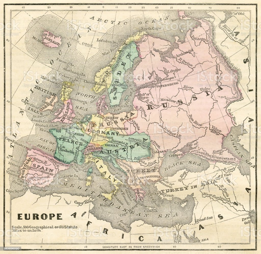 Map of europe 1856 stock vector art more images of antique map of europe 1856 royalty free map of europe 1856 stock vector art amp gumiabroncs Gallery