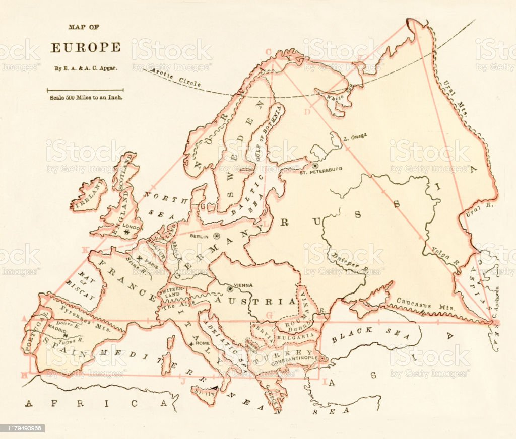 map of europe 1875 Map Of Europe 1875 Stock Illustration   Download Image Now   iStock