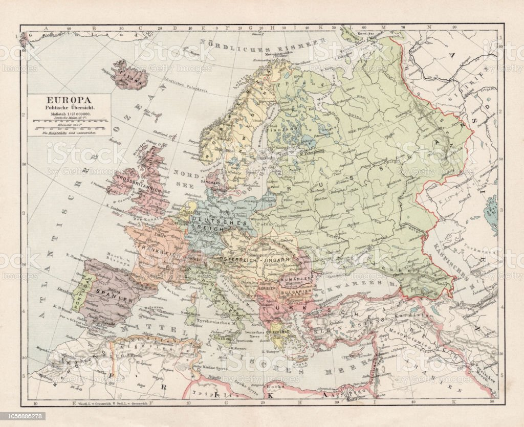 Map Of Europe 1900 Stock Vector Art More Images Of Antique