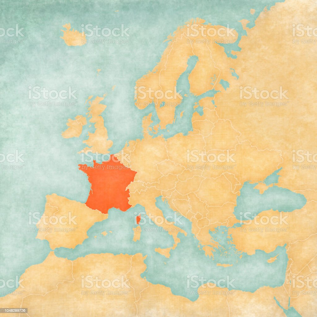 Map Of Europe France.Map Of Europe France Stock Illustration Download Image Now Istock