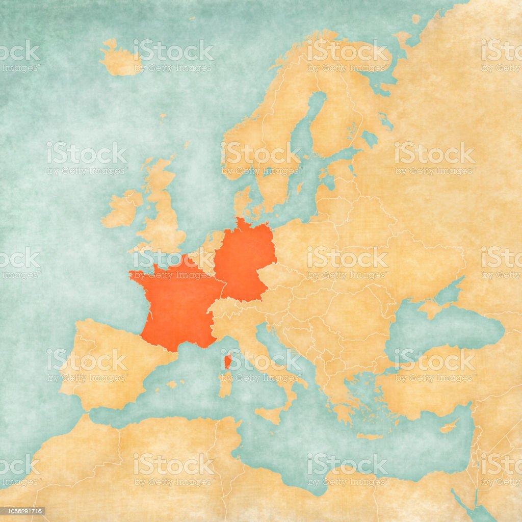 Deutschland Frankreich Karte.Karte Von Europa Deutschland Und Frankreich Stock Vektor Art Und