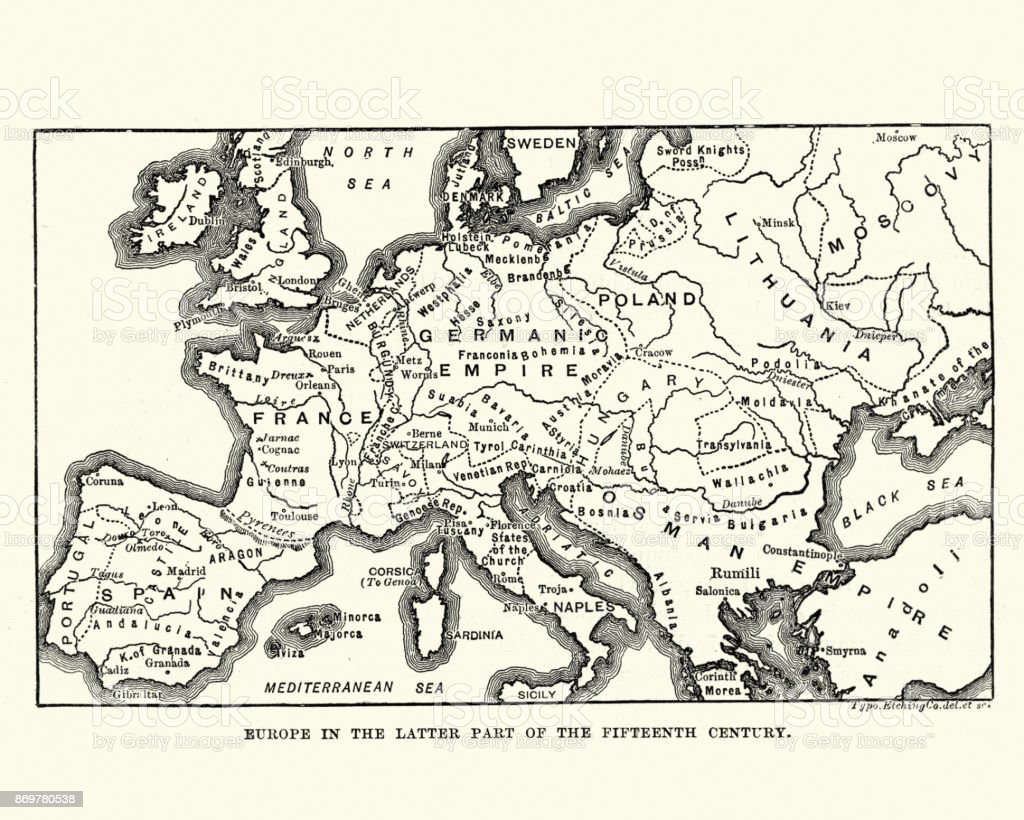 Map of Europe in late 15th Century vector art illustration