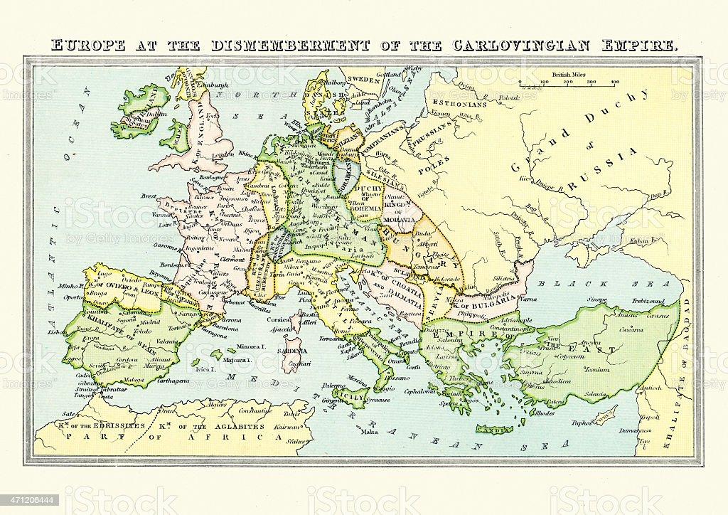 Mapa Europa Siglo Ix.Ilustracion De Mapa De Europa A Finales Del Siglo Ix Y Mas Vectores Libres De Derechos De 2015 Istock