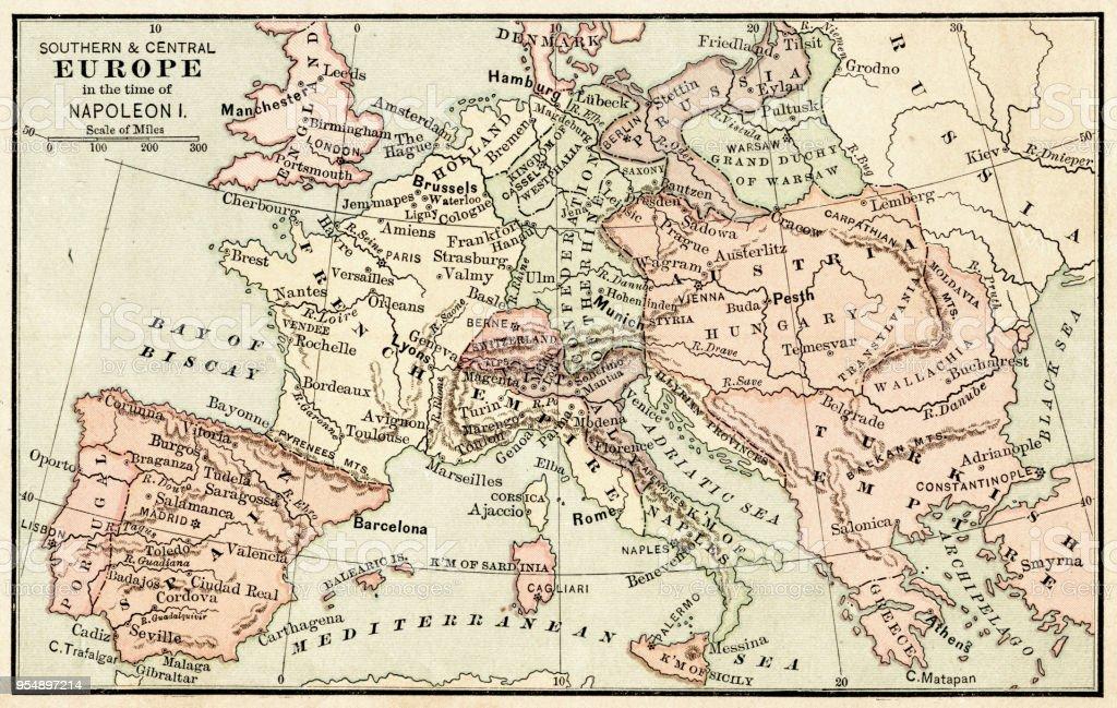 Karta Sverige Frankrike.Karta Over Europa I Napoleons Tid Jag 1881 Vektorgrafik Och Fler