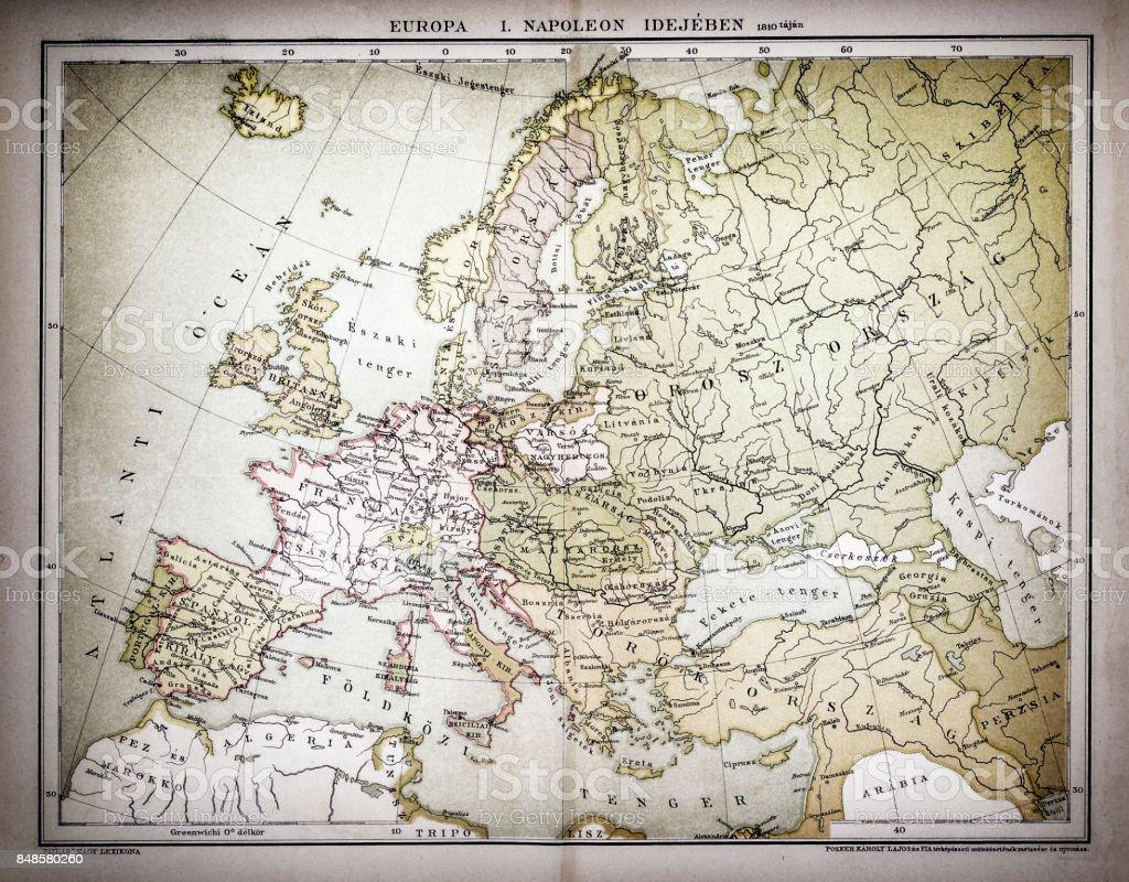 Map of Europe ,Napoleon idea 1810 vector art illustration