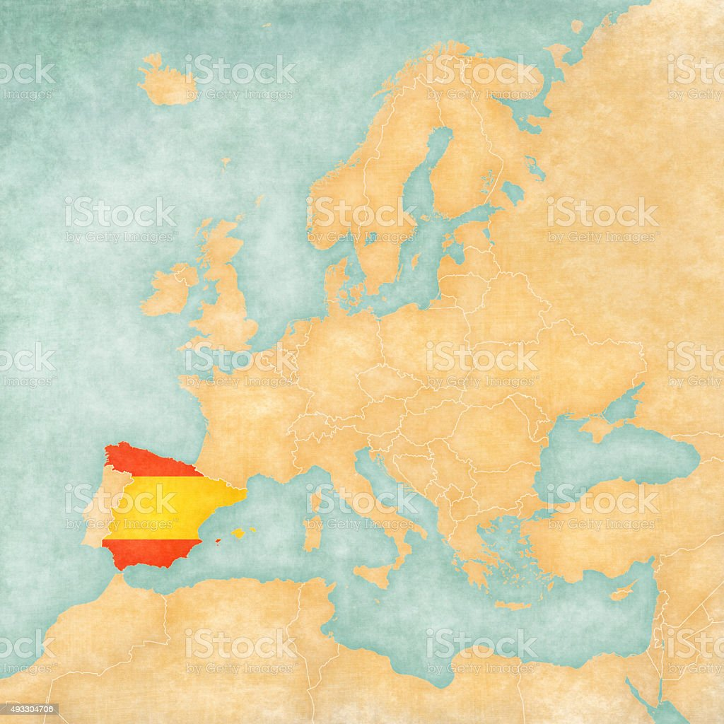 Spain Map Of Europe.Map Of Europe Spain Stock Illustration Download Image Now Istock
