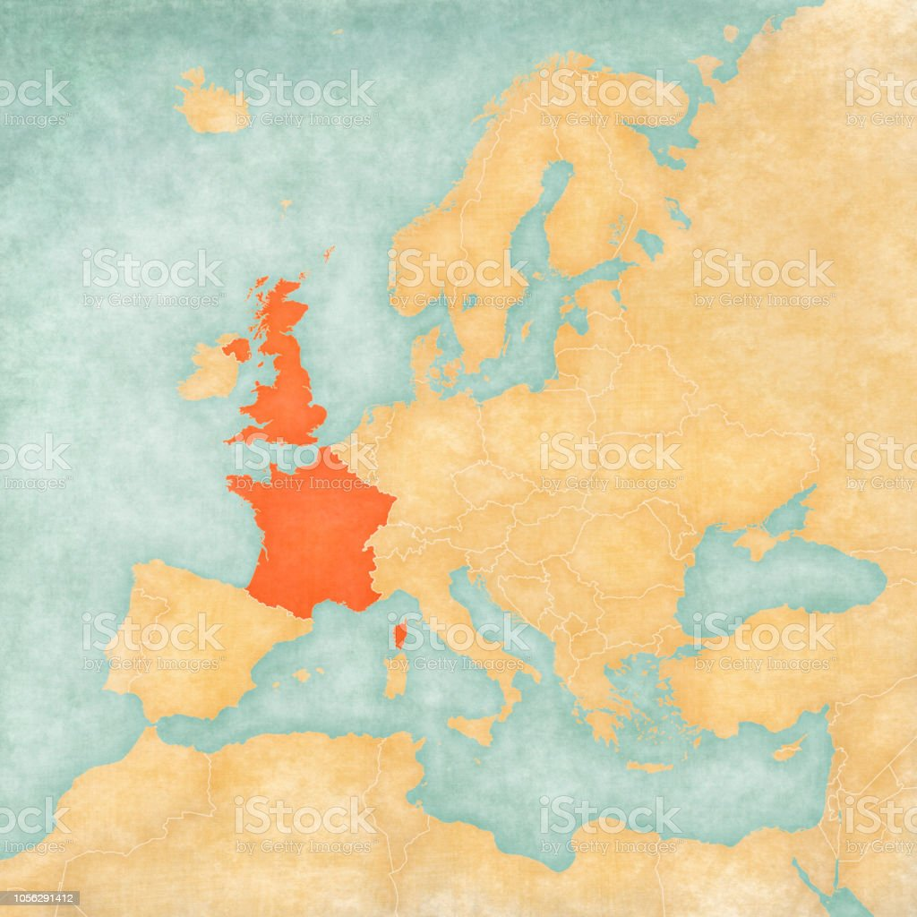 Map Of Uk France.Map Of Europe Uk And France Stock Illustration Download Image Now