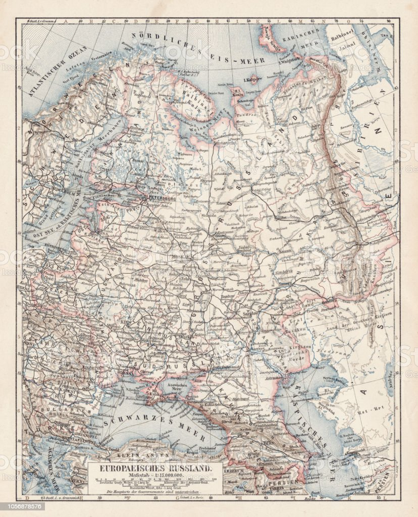 Map Of European Part Of Russia 1900 Stock Vector Art More Images