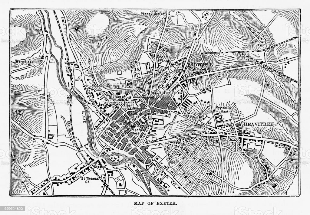 Map Of Exeter In Devon England Victorian Engraving 1840 Stock Vector