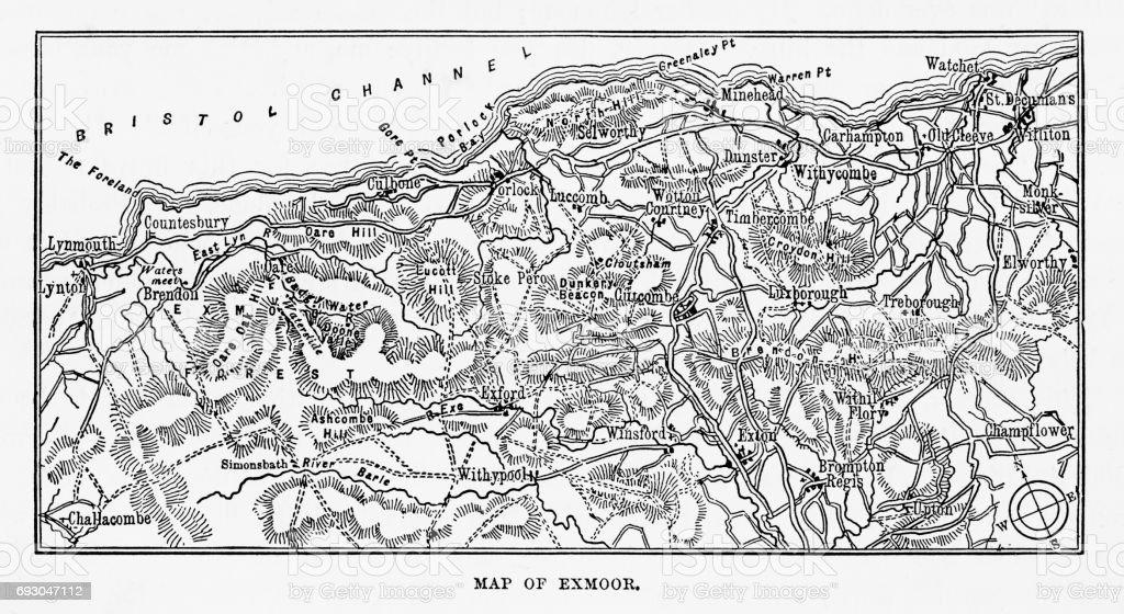 Map of Exmoor, England Victorian Engraving, 1840 vector art illustration