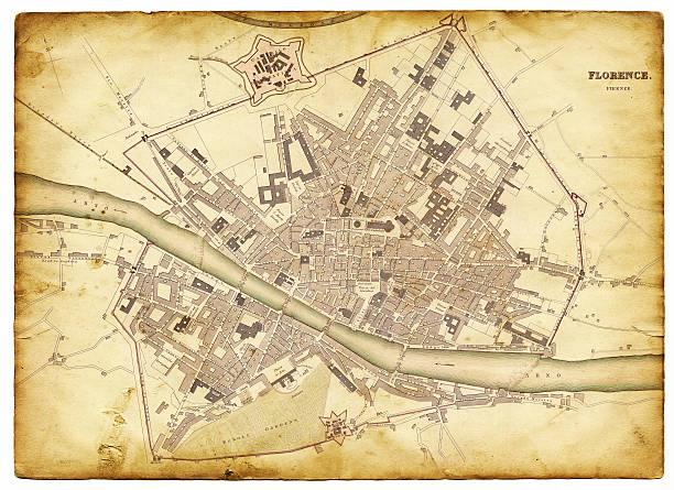 illustrazioni stock, clip art, cartoni animati e icone di tendenza di mappa di firenze 1835 - firenze