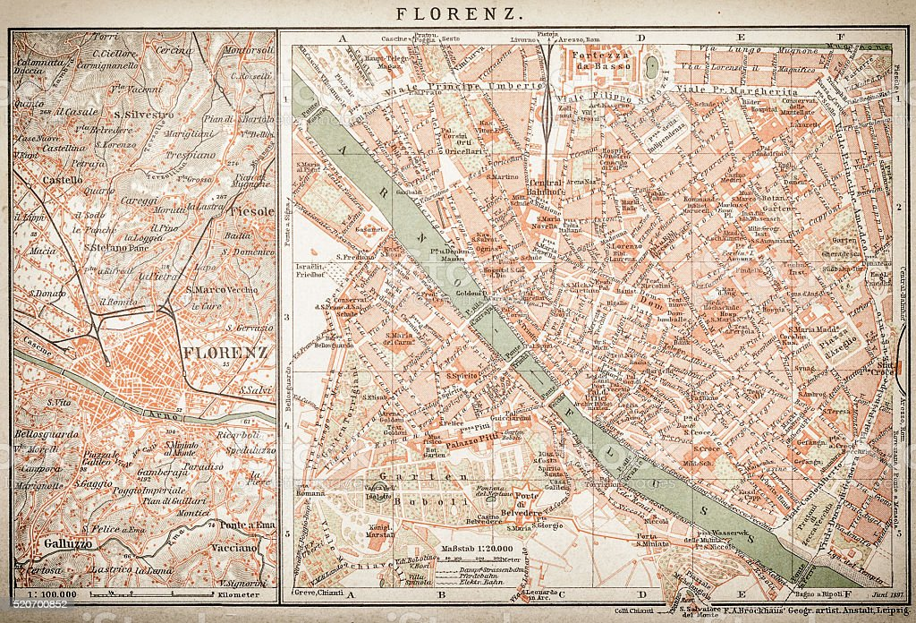 map of florence vector art illustration
