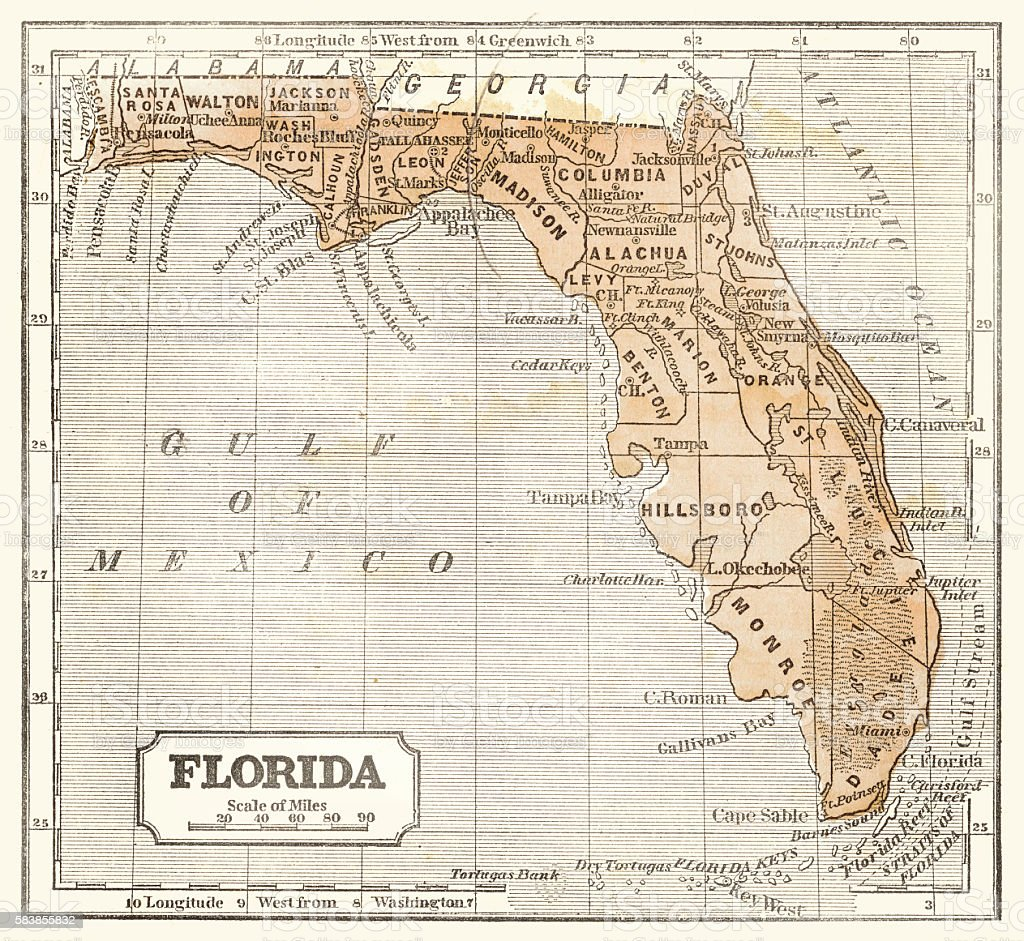 Map Of Florida 1855 Stock Illustration - Download Image Now ...