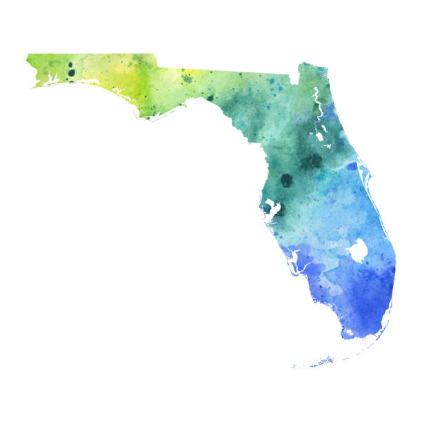 Map of Florida with Watercolor Texture - Raster Illustration A highly detailed map of the US state of Florida with a multicoloured, blue and green hand painted watercolor texture. Map is isolated on a white background. Raster illustration. florida us state stock illustrations