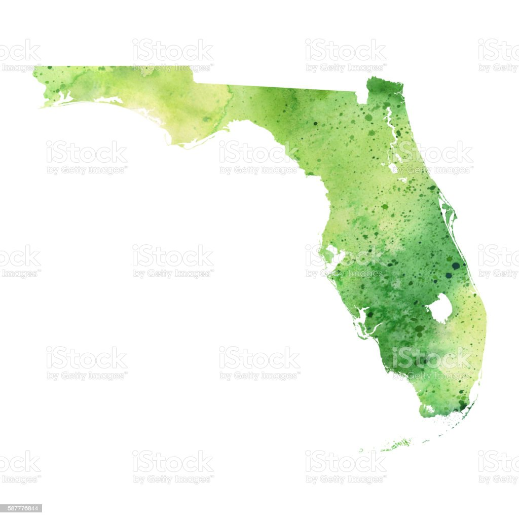 Watercolor Florida Map.Map Of Florida With Watercolor Texture Raster Illustration Stock