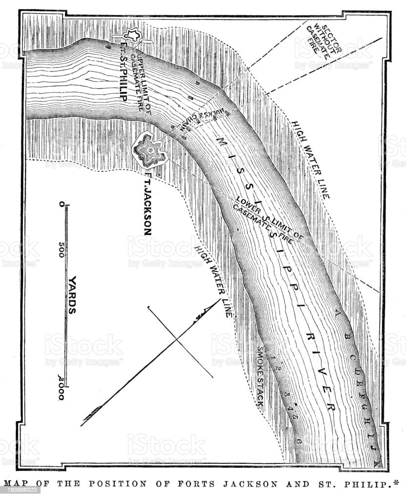 Map of Forts Jackson and St Philip on the Mississippi vector art illustration
