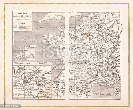 Steel engraving Map of France and Paris Original edition from my own archives Source :
