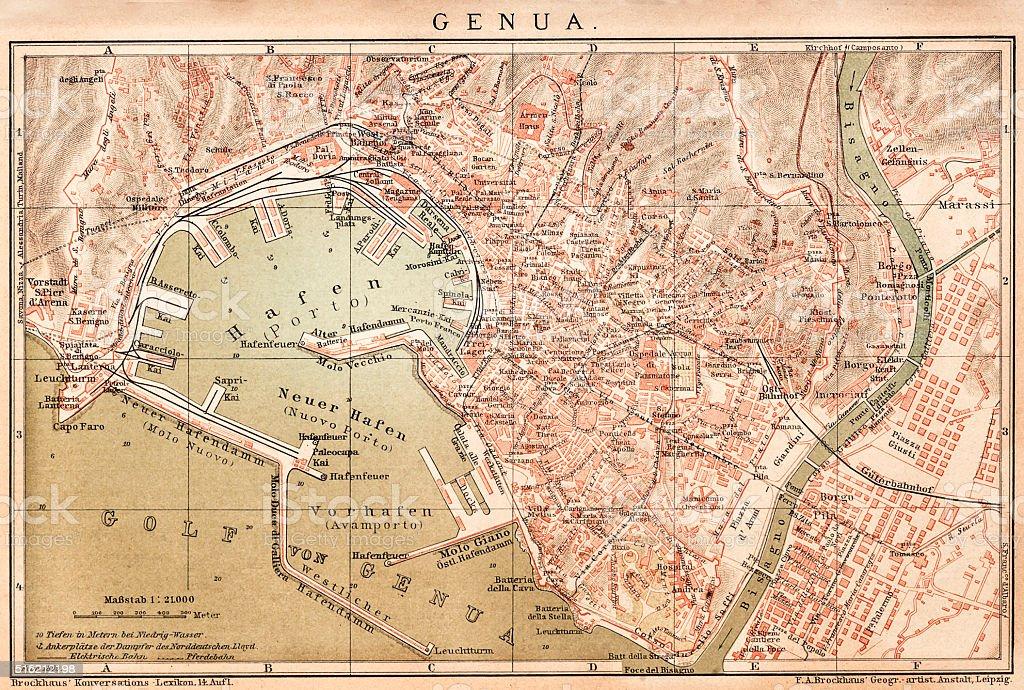Map of Genoa 1898 vector art illustration