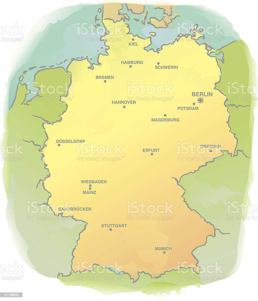 Map of Germany - Watercolor Style vector art illustration