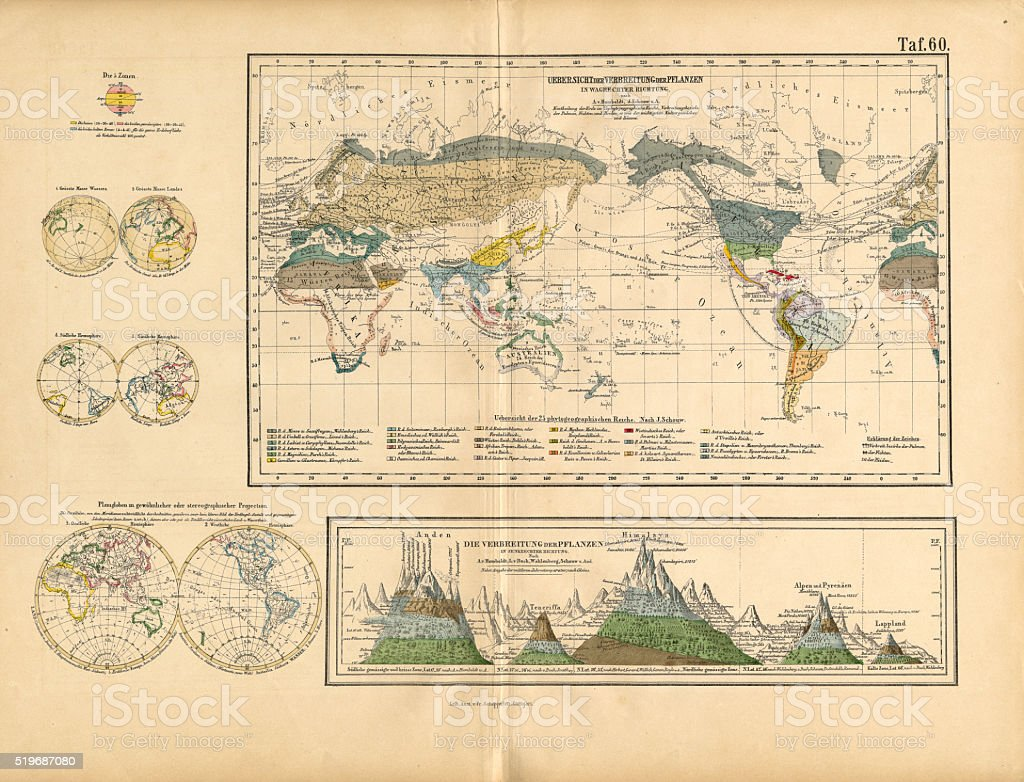 Map of Global Distribution of Plants, Victorian Botanical Illustration vector art illustration