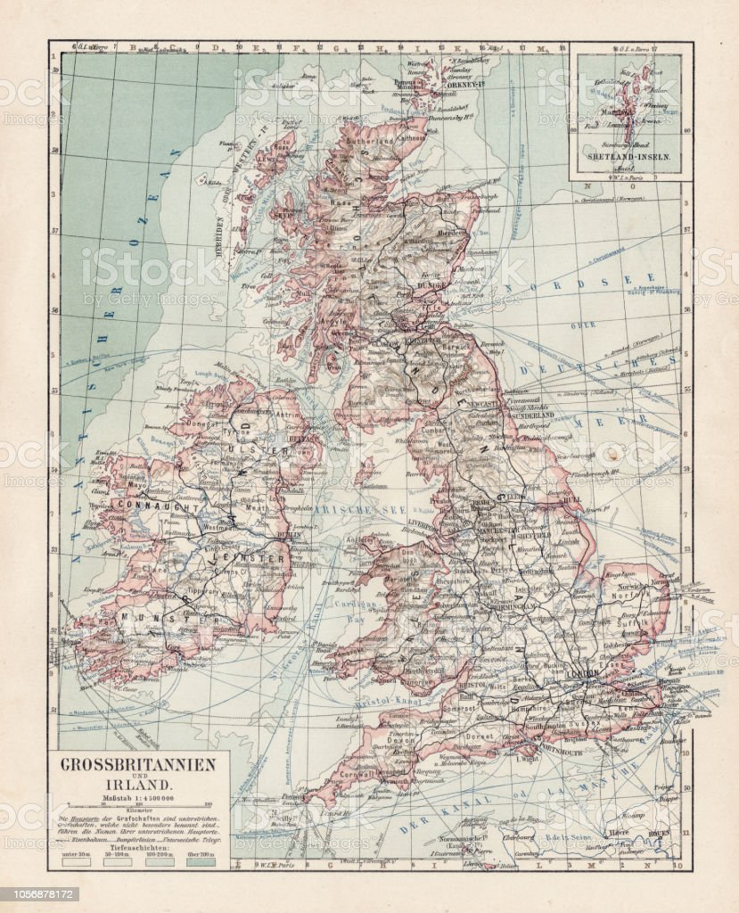 Map Of Uk 1900.Map Of Great Britain 1900 Stock Illustration Download Image Now
