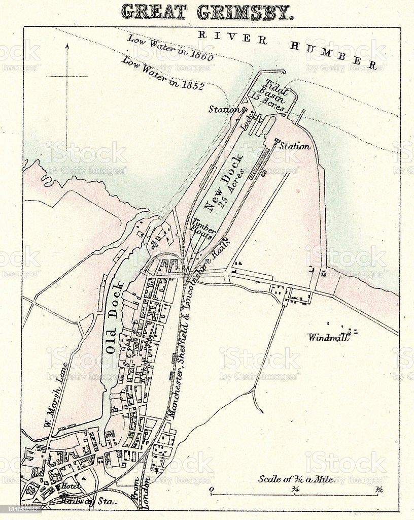 Map of Grimsby vector art illustration