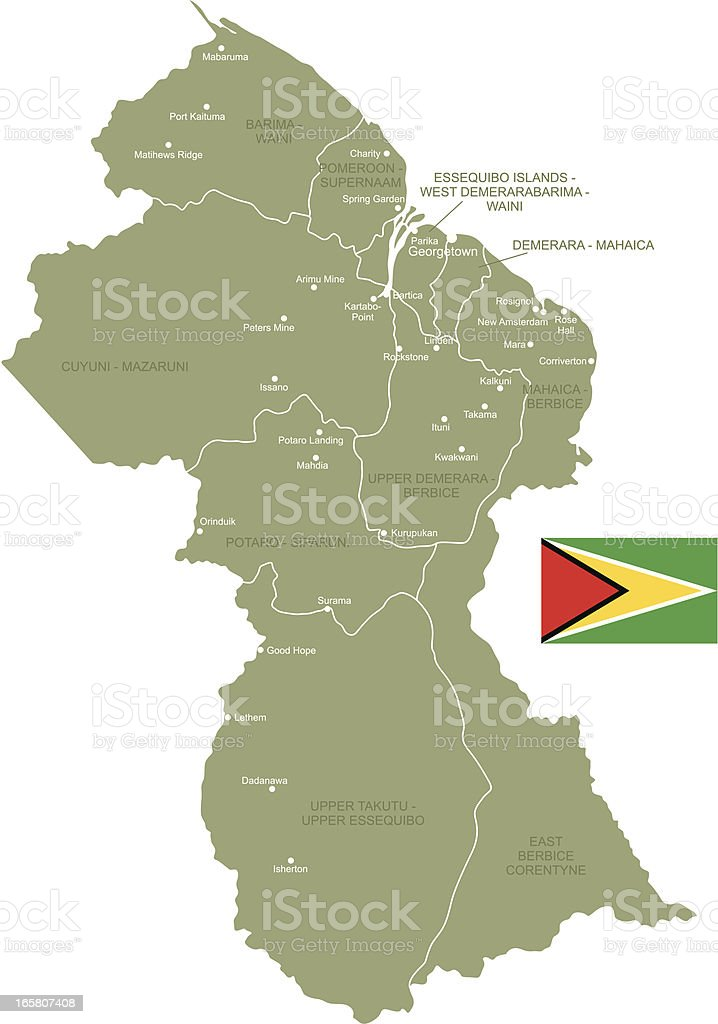 Map of Guyana royalty-free stock vector art