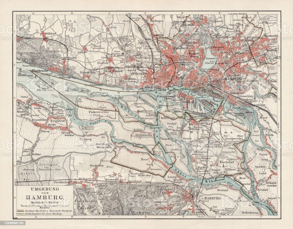 Map Of Germany 1900.Map Of Hamburg 1900 Stock Illustration Download Image Now Istock