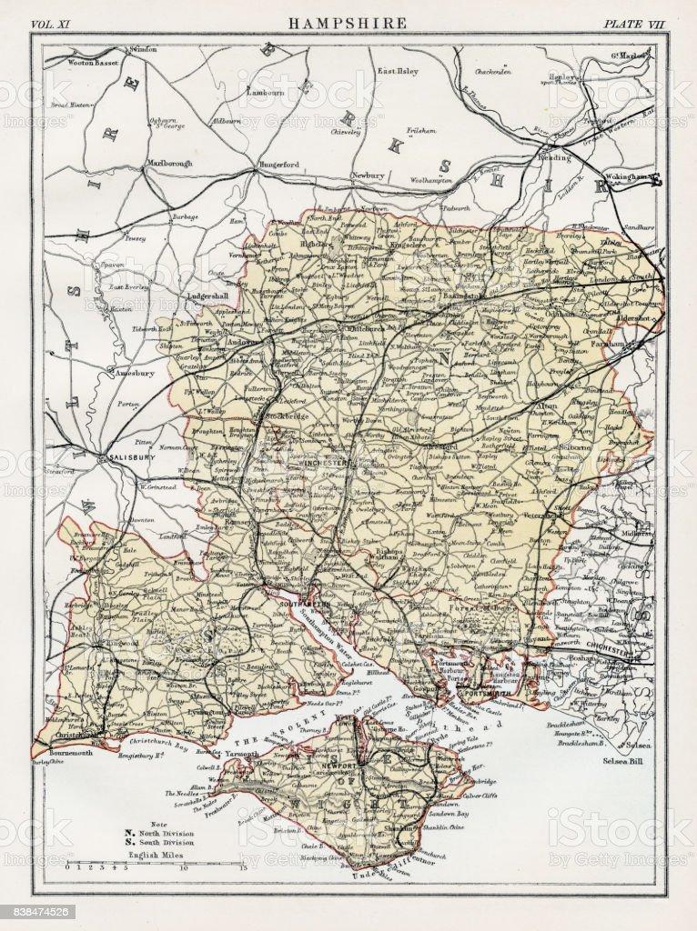 Map of Hampshire 1883 vector art illustration