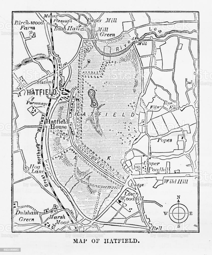 Map of Hatfield, Hertfordshire, England Victorian Engraving, 1840 vector art illustration