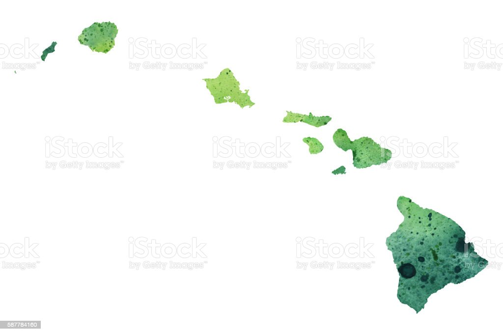 Map of Hawaii with Watercolor Texture - Raster Illustration vector art illustration