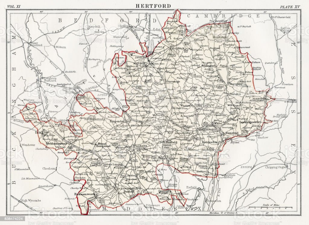 Map of Hertford 1883 vector art illustration