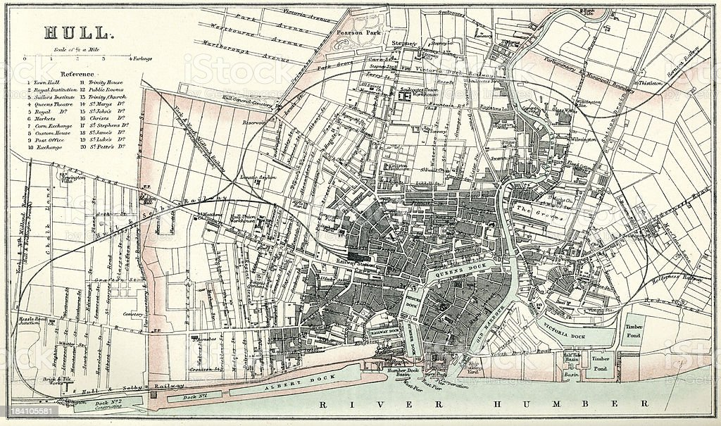 Map of Hull royalty-free stock vector art