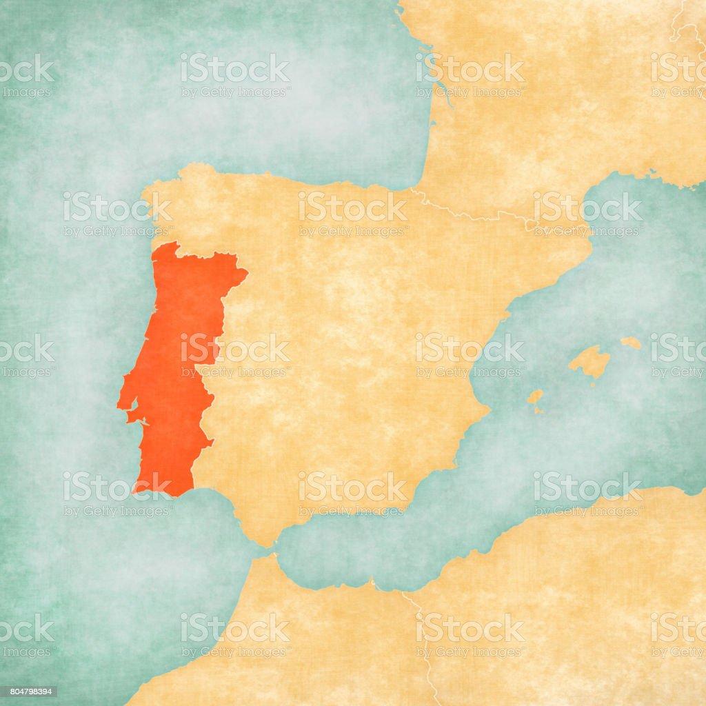 Map Of Iberian Peninsula Portugal Stock Vector Art IStock - Portugal map iberian peninsula