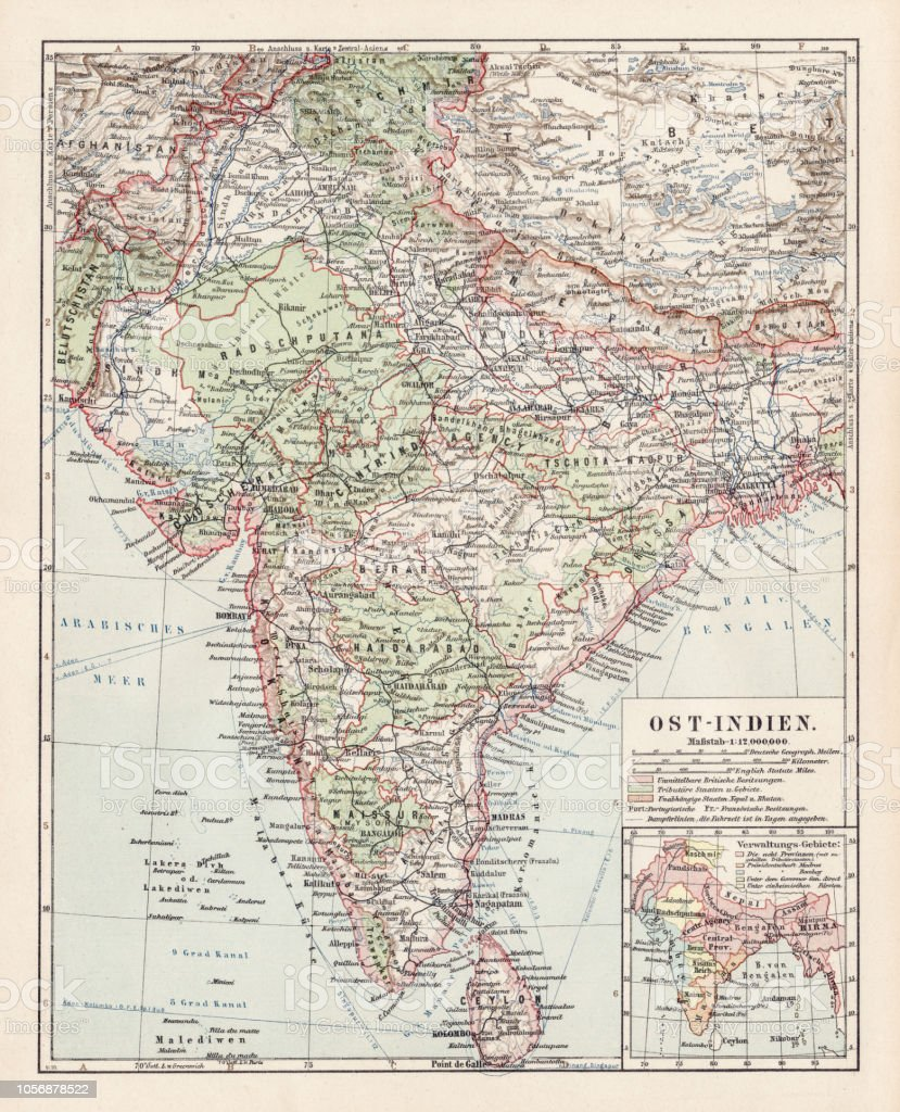 Map Of India 1900 Stock Vector Art More Images Of Afghanistan