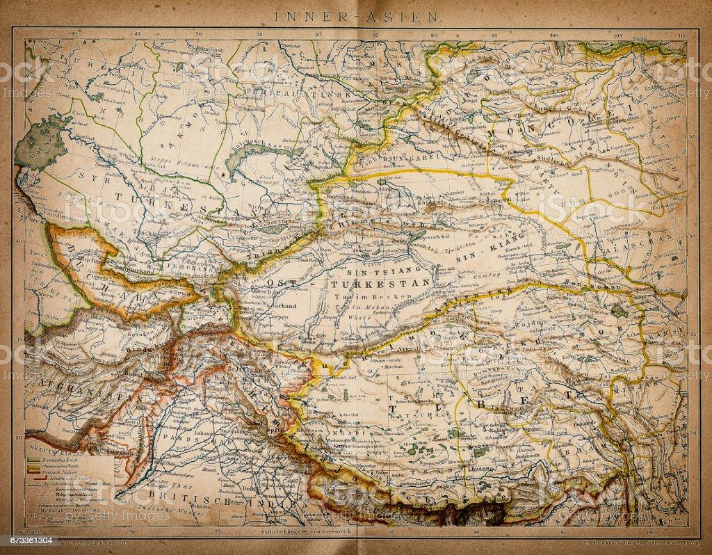 Mapa da Ásia interna - ilustração de arte em vetor