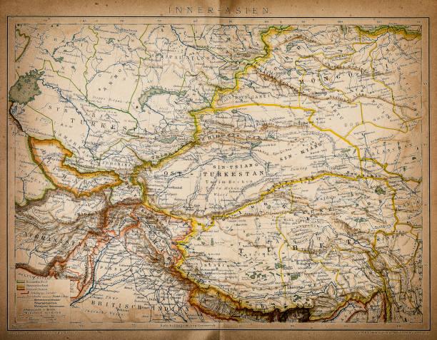 ilustrações, clipart, desenhos animados e ícones de mapa da ásia interna - mapa do oriente médio
