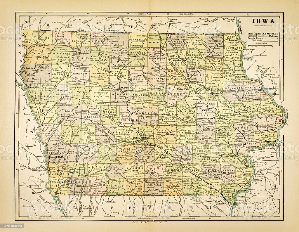 Map of Iowa 1883 vector art illustration