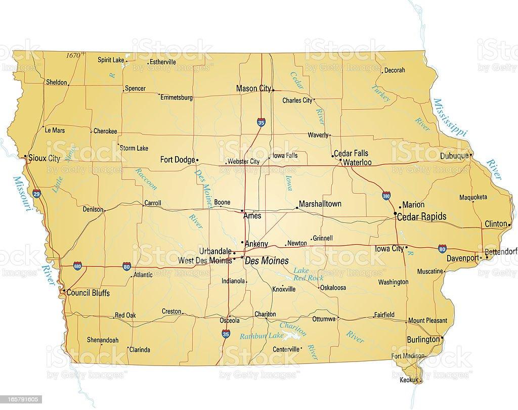 Map of Iowa vector art illustration