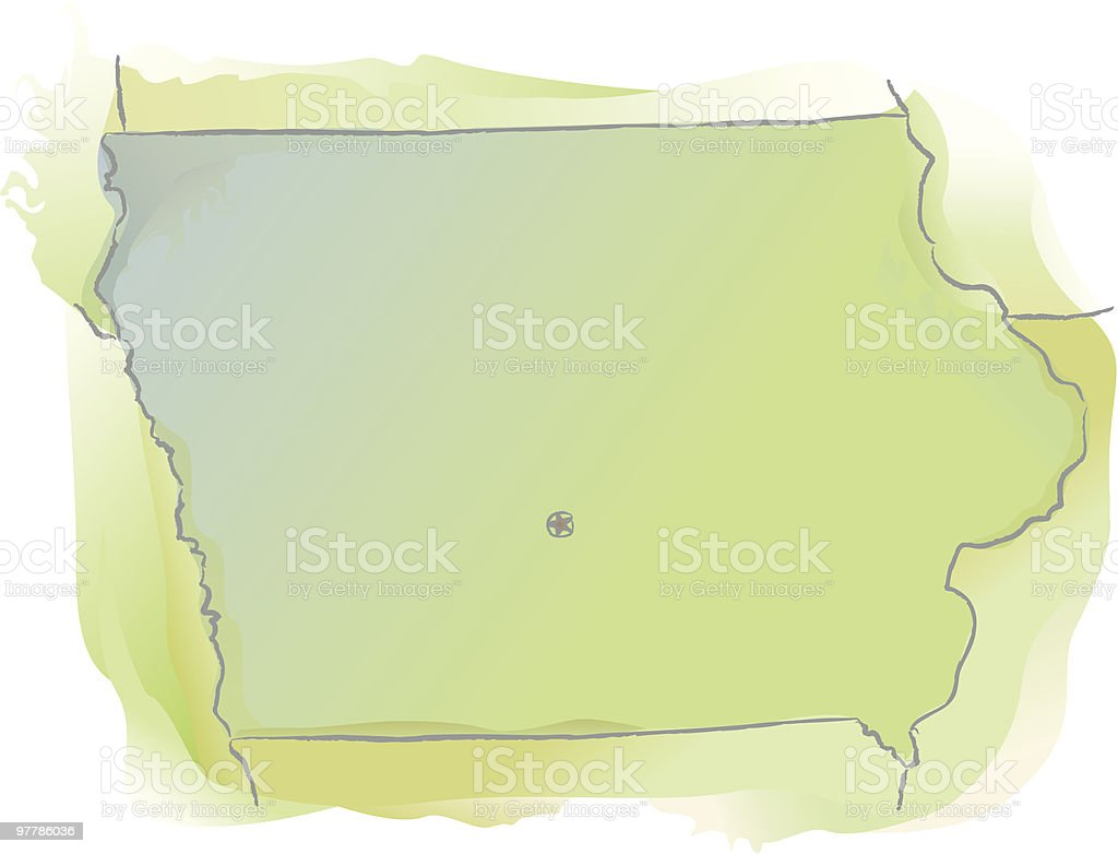 Map of Iowa - Watercolor style royalty-free map of iowa watercolor style stock vector art & more images of cartography
