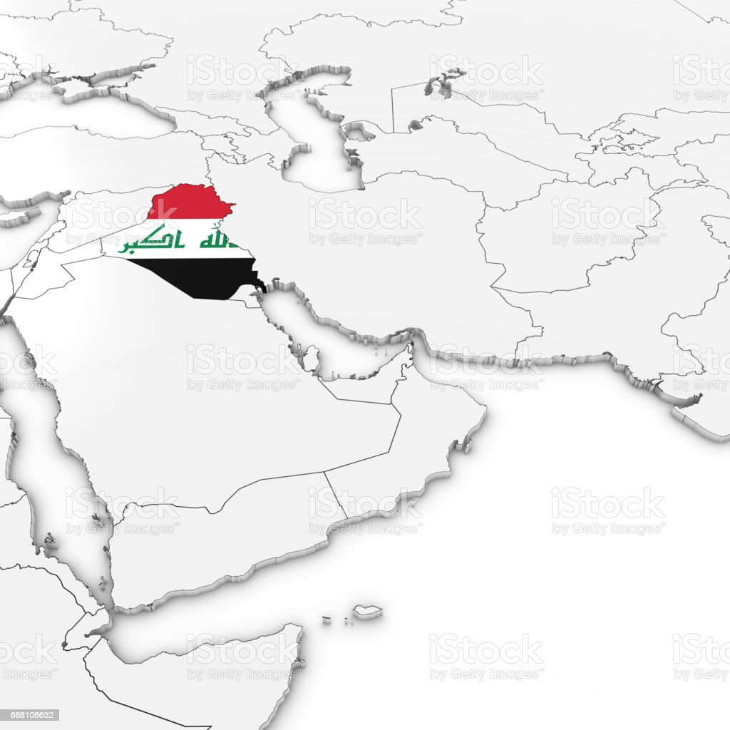 3d map of iraq with iraqi flag on white background 3d illustration 3d map of iraq with iraqi flag on white background 3d illustration royalty free 3d gumiabroncs Gallery