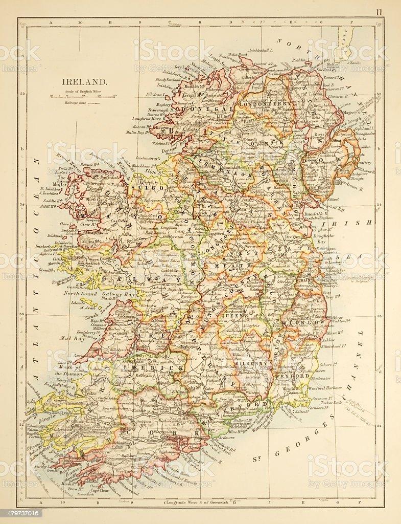 Map of Ireland 1897 vector art illustration