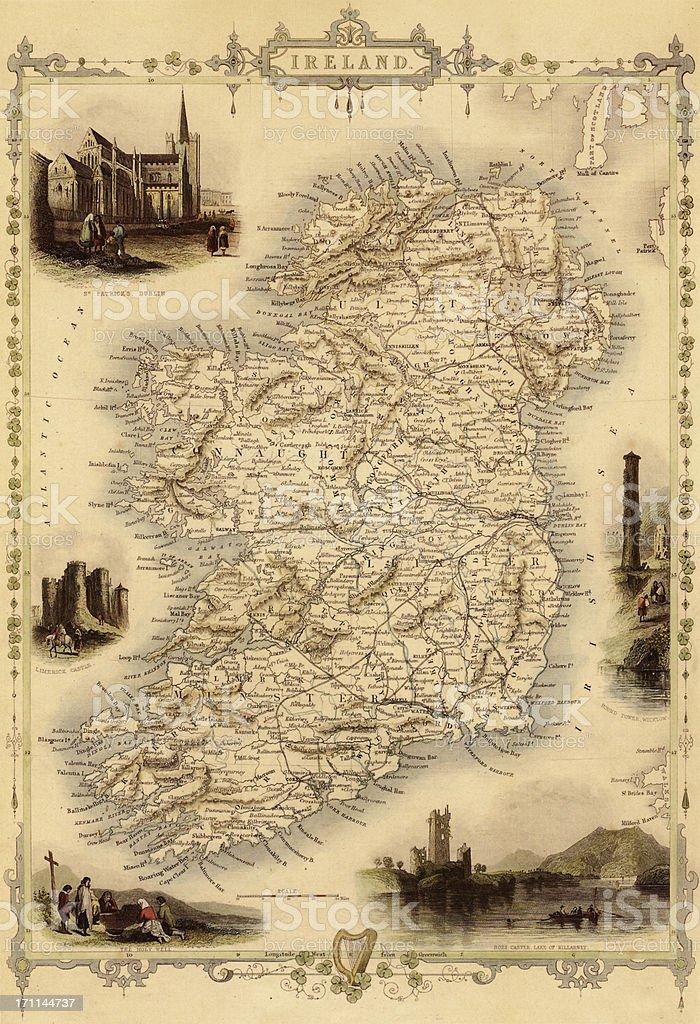 Map of Ireland from 1851 vector art illustration