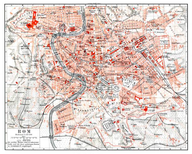 Map of italian city Rome Italy 1897 vector art illustration